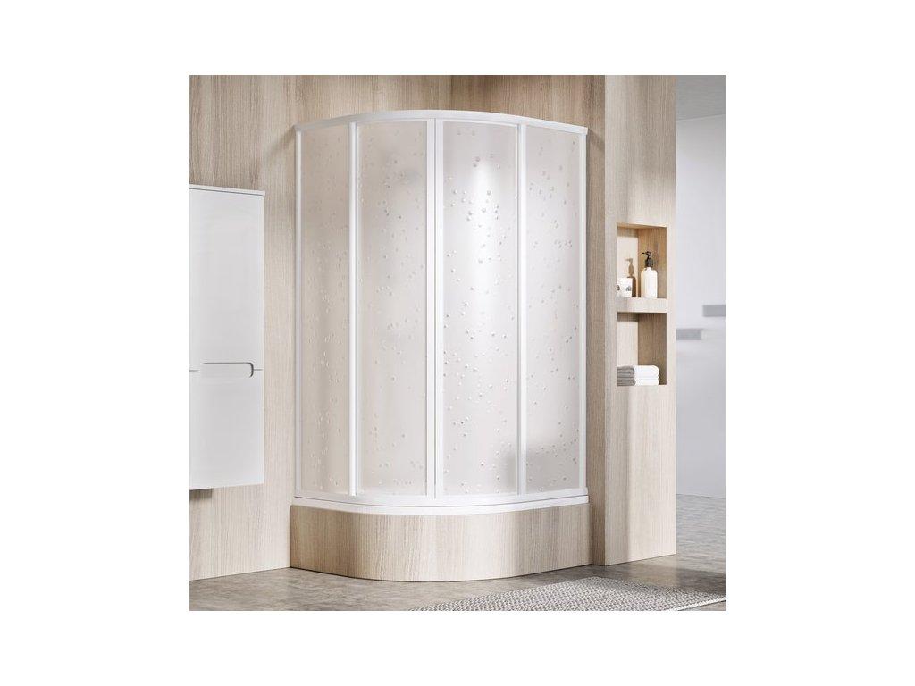 Sprchový kút štvrťkruhový znížený 80x80 cm SKCP4-80 SABINA Ravak, sklo Pearl, biela