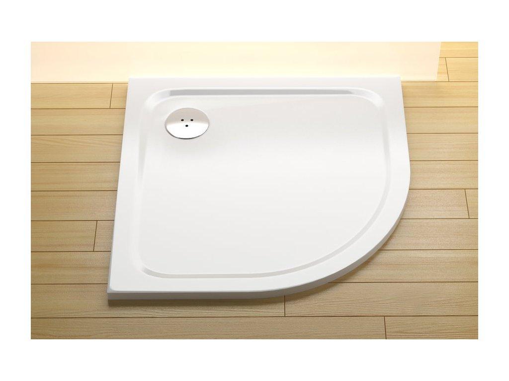 Sprchová vanička štvrťkruhová 90x90 cm ELIPSO PRO-90 CHROME Ravak, biela