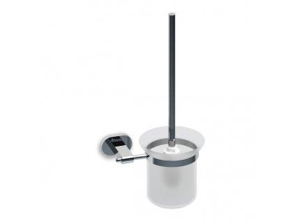 Držiak s nádobkou a WC kefkou CR 410.00 CHROME Ravak, sklo/chróm