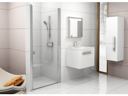 Sprchové dvere jednodielne CSD1-90 CHROME Ravak, sklo Transparent, satin