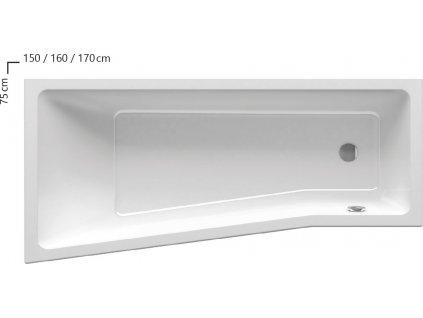 Vaňa asymetrická 160x75 cm BE HAPPY II 160 R Ravak, pravá, biela