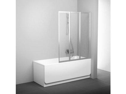 Vaňová zástena 130 cm VS3 130 Ravak, sklo Rain, biela