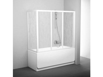 Pevná vanová stěna 80 cm APSV4-80 Ravak, sklo Rain, biela