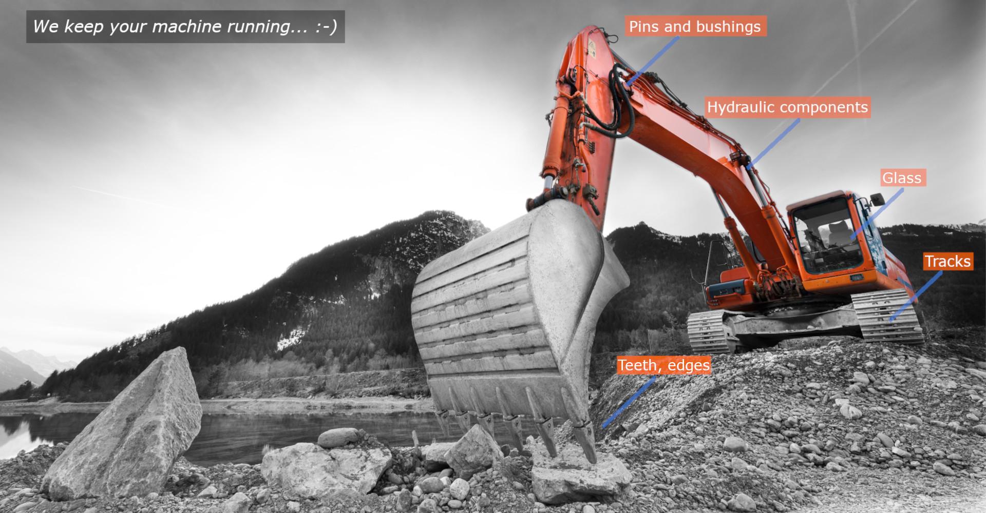 Spare parts for excavators, loaders, dozers