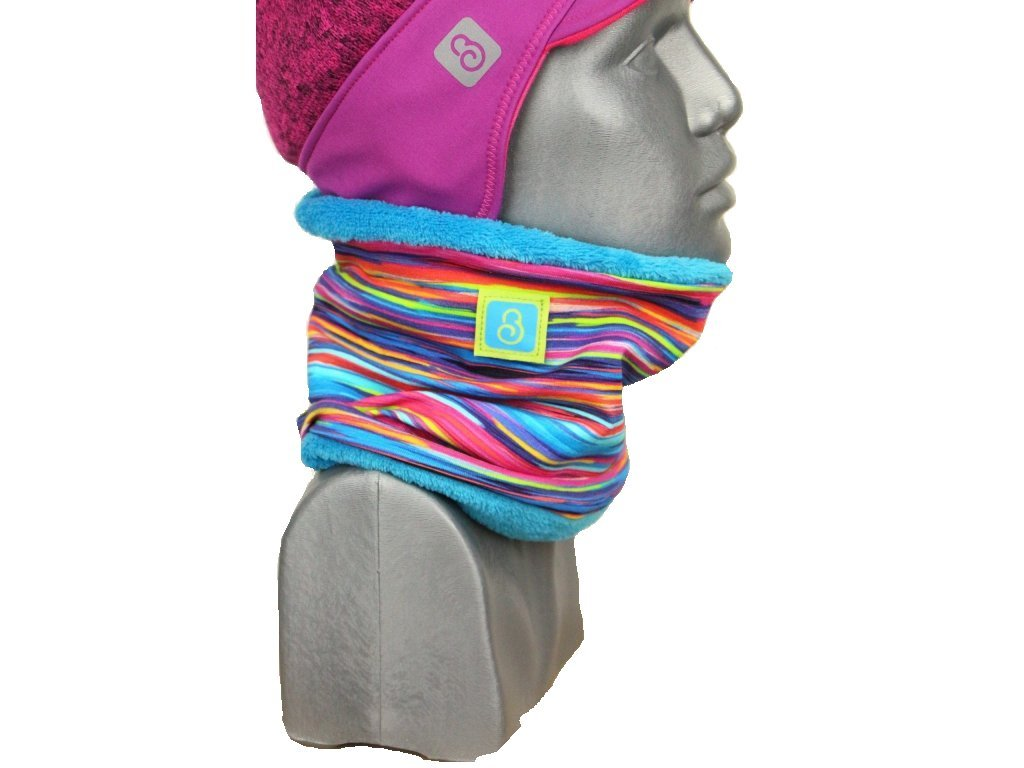 zimní nákrčník pro holčičky, pestré pruhy + tyrkys Velikost S 5532 47 877