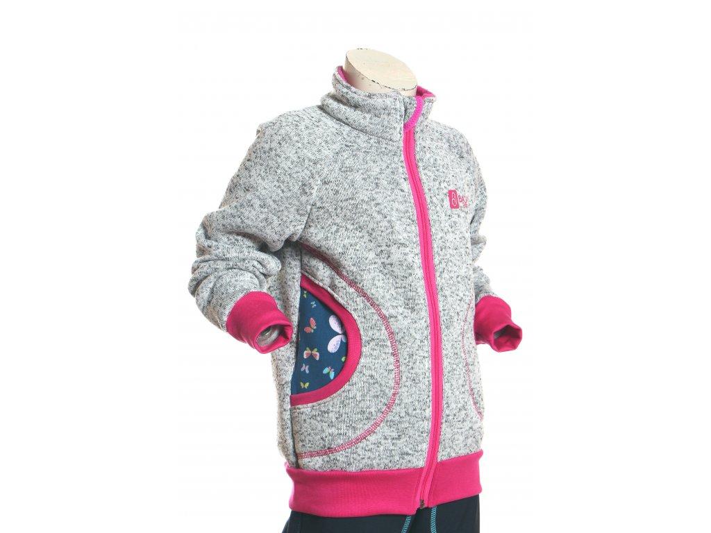 svetrová mikina pro holky, šedá + motýlci, bok