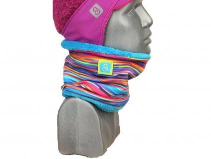 zimní nákrčník pro holky, pestré pruhy + tyrkys Velikost L 4469 47 286