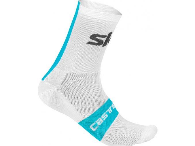 Castelli - Team Sky pánské ponožky Rosso Corsa 13 cm, white