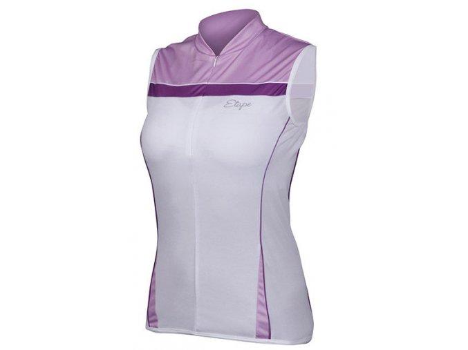 Etape - dámský dres ROXY bez rukávů, bílá/fialová