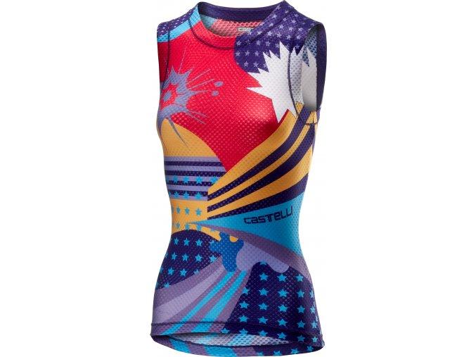 Castelli - dámské triko Pro Mesh, bez rukávů, multicolor purple