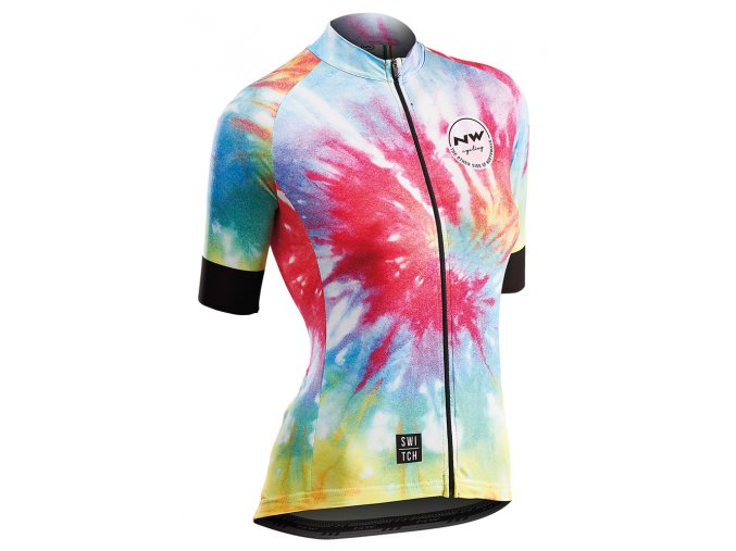 Cyklodres NORTHWAVE Hippie W Jersey Short Sleeves Switch Line Rainbow - dámský