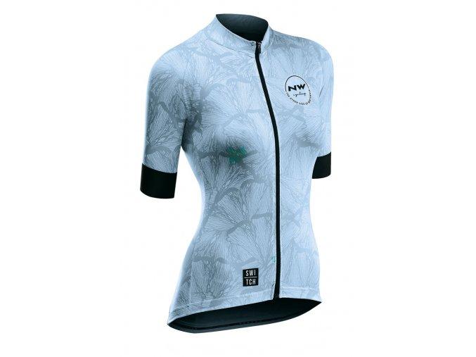 Cyklodres NORTHWAVE Butterfly Jersey Short Sleeves Switch Line Light Blue - dámský