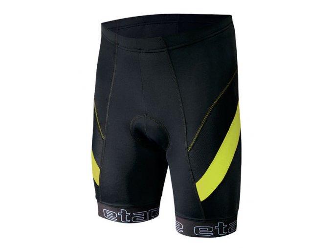 Etape - pánské kalhoty PROFI PAS s vložkou, černá/žlutá fluo