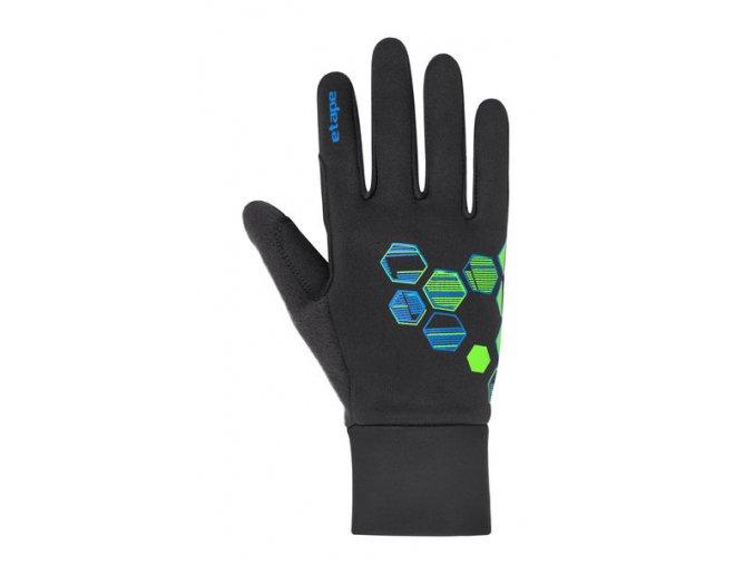 Etape – dětské rukavice PUZZLE WS, černá/zelená