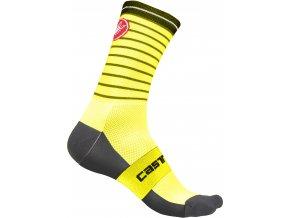 Castelli - pánské ponožky Podio Doppio 13 cm, yellow fluo/black
