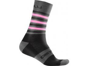 Castelli - pánské ponožky Gregge 15, black/giro pink
