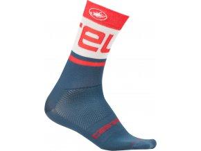 Castelli - pánské ponožky Free Knit 13 cm, light steel blue/red