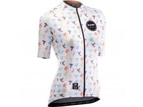Cyklodres NORTHWAVE Origami Jersey Short Sleeves, white - dámský