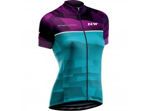 Cyklodres NORTHWAVE Origin Jersey Shorts Sleeves, purple/green - dámský