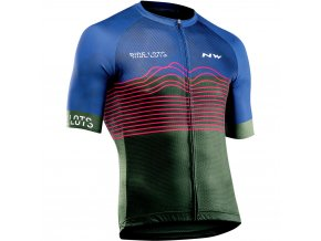 Cyklodres NORTHWAVE Blade Air Jersey Short Sleeves, blue/green forest
