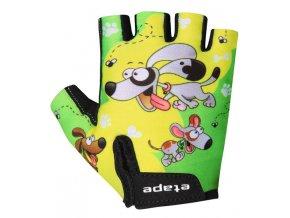 Etape - dětské rukavice REX, žlutá/zelená