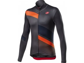 Castelli - pánský dres Mid Thermal Pro dl. rukáv, dark/gray/orange