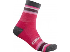 Castelli - dámské ponožky Striscia 13 cm, magenta