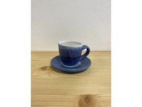 Modrý malý šálek s podšálkem 50 ml - městské kolo