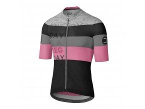Cyklistický dres Dotout Combact Jersey - Black/Pink/Melange