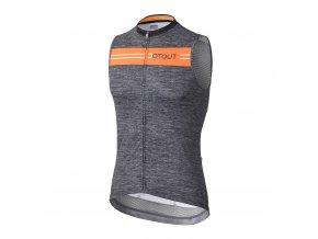 Cyklistický dres Dotout Stripe Sleeveless Jersey - Melange Dark Grey/Fluo