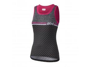 Dámský cyklistický dres Dotout Stripe W Top - black/fuchsia