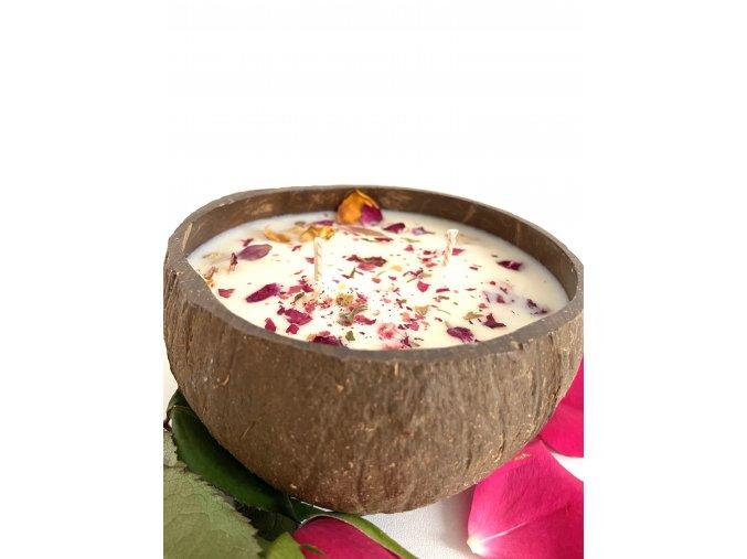 Svíčka v kokosce ROSE