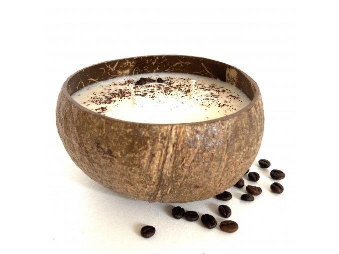 Svíčka v kokosu VANILLA COFFEE