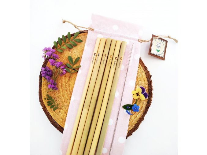 Bambusová brčka 6ks