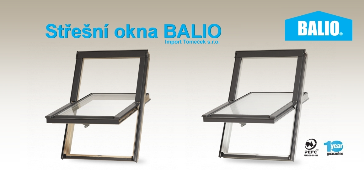 Dřevěná a plastová střešní okna BALIO