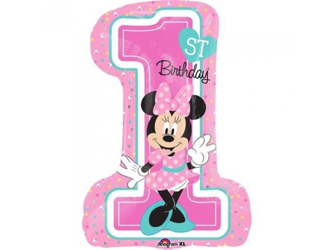 0008898 foliovy balonek 1st birthday minnie 48 71 cm 510