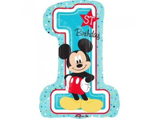 0008899 foliovy balonek 1st birthday mickey 48 71 cm 510