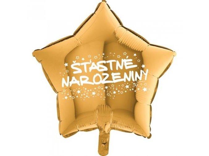 0008811 foliovy balonek hvezda stastne narozeniny zlata 45 cm 510
