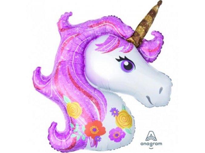 0005750 foliovy balonek hlava jednorozce pink sparkle 83 73 cm 510