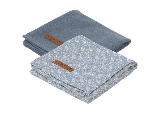 0009130 swaddle doek 70 x 70 lily leaves blue set van 2 designs