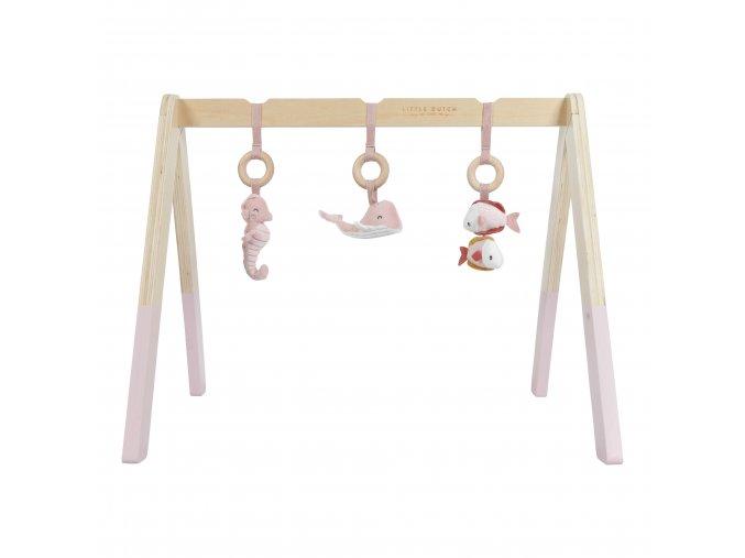 4833 Dřev. hrazdička+3zvířátka pink (1)