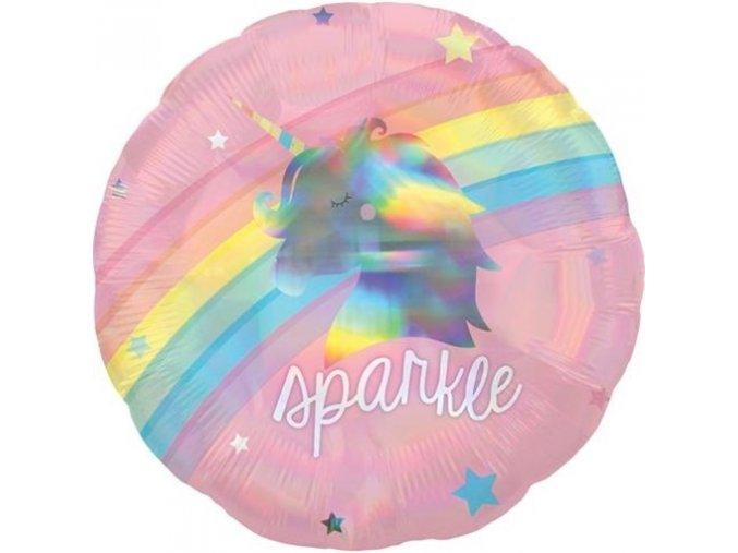 0012024 foliovy holograficky balonek duhovy jednorozec 43 cm 510