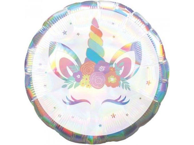 0013054 foliovy holograficky balonek leskly jednorozec 43 cm 510