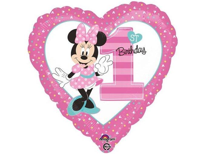0014829 foliovy balonek srdce 1st birthday minnie 45 cm
