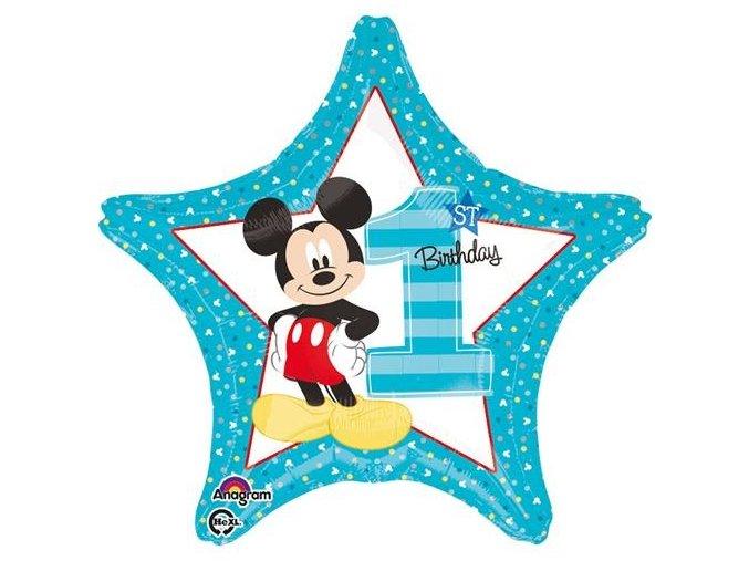 0014830 foliovy balonek hvezda 1st birthday mickey 45 cm