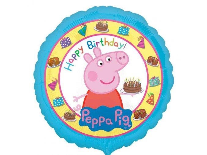 0015135 foliovy balonek prasatko peppa happy birthday modry 43 cm