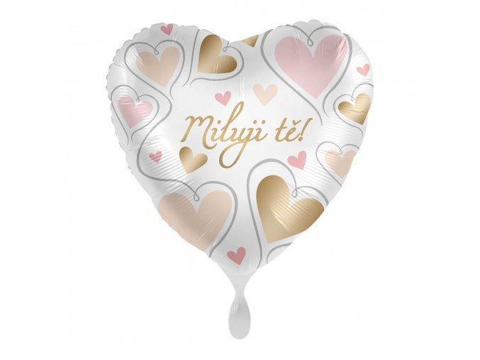 0015747 foliovy balonek miluji te cz srdce zlata a ruzova 43 cm