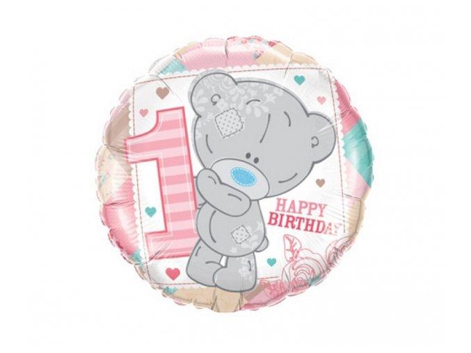 0015213 foliovy balonek medvidek prvni narozeniny ruzovy 45 cm