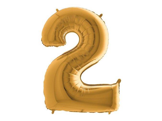 Balon foliove cislo zlate 2