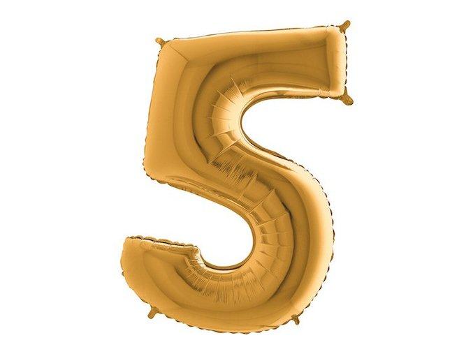 Balon foliove cislo zlate 5
